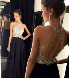 Custom Made Black Chiffon Prom Dress,Sexy Halter Evening Dress,Sleeveless Party Gown,Beaded Prom Dress,