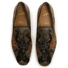 CHRISTIAN LOUBOUTIN Diabolo beaded embroidered suede loafer shoes EU42 US9  UK8 | eBay
