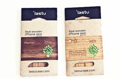 `Lastu wooden cover for iPhone packaging branding -- mixing rustic w/ modern