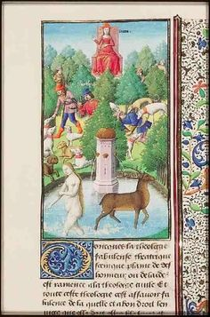 The Hague, MMW, 10 A 11	 fol. 296r   Book 6, 7  As punishment for seeing her bathing, Diana changes Actaeon, the hunter, into a stag; Actaeon is devoured by his own dogs (background); Diana on a throne (background)  Fol. 296r: column miniature