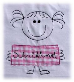 *Pupil* T-Shirt with name for enrolment embroidered with a school cone, a little girl and a writing tablet also for boys available Pumpkin Outfit, Family Day Care, Kindergarten, Boy Outfits, Back To School, Little Girls, Snoopy, Kids Rugs, Shirts