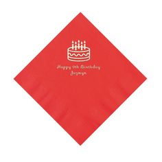 Red Birthday Cake Personalized Luncheon Napkins