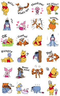 Winnie the Pooh and friends come to life in these delightful animated stickers! Come join Pooh, Tigger, Piglet, and Eeyore in this exciting set of stickers set deep within the Hundred Acre Wood. Winnie The Pooh Drawing, Cute Winnie The Pooh, Disney Artwork, Disney Drawings, Cartoon Stickers, Cute Stickers, Bear Wallpaper, Wallpaper Iphone Disney, Kawaii Doodles