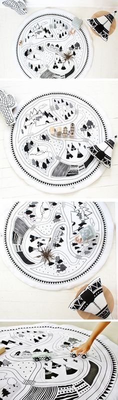 Lets Play - Floor Mat / Rug - Hand Printed - Original Design - Organic Option - Baby Playmat - Play Mat - Car Mat - Handmade