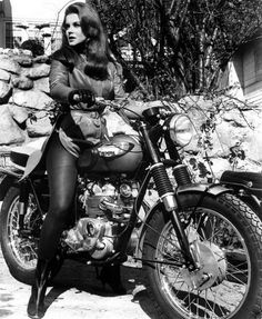 The Girls on their Motorcycles: Vintage photos of kickass women and their rides | Dangerous Minds Ann-Margret rode a classic Triumph T100