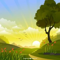 Sunlight vector landscape