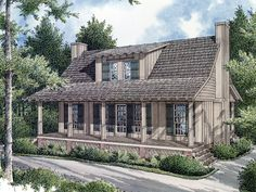 """Hunters Hollow Rustic Home  from houseplansandmore.com 1034 Total Heated Square Feet 1st Floor: 648 2nd Floor: 386 Width: 36'-0"""" Depth: 30'-0"""" 2 Bedrooms 2 Full Baths Standard Foundation: Crawl Space Exterior Wall Framing: 2"""" x 4"""""""