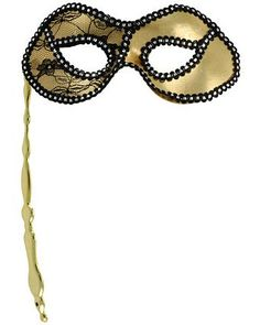 Adult Mardi Gras Stick Mask Gold