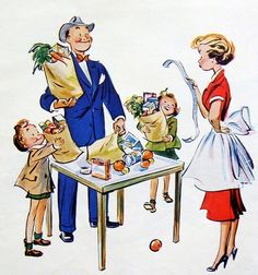 Husbands can't be trusted with food budgets...detail from 1952 Jell-O ad.