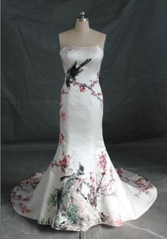 Perhaps?? Strapless Satin Painting Chinese Wedding Dress Prom by misdress, $199.00