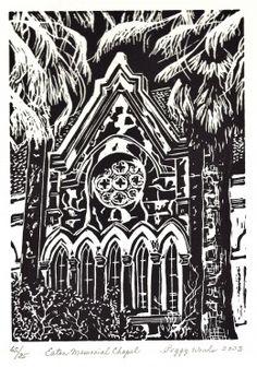 Limited edition linocut of Eaton Memorial Chapel in Galveston, Texas.