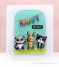 Card by Francine (www.1001cartes.ch) karte, carte, carterie, cardmaking, cardmaker, crafts, papercrafts, handmade, diy, stamping, #averyelle, avery elle stamps, party pals, critters, bunny, birthday card, sweet panda, #averyellestamps