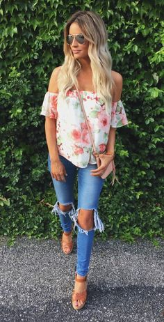 Floral OTS top, ripped jeans, aviators & wedges⚜Buffy VS⚜