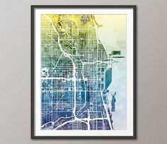 Chicago Map, Chicago Illinois City Street Map, Art Print (1801)