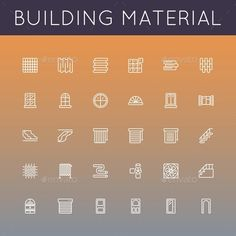 Buy Vector Building Material Line Icons by dashadima on GraphicRiver. Folder include Ai and JPG files. Ai files can edit in Adobe Illustrator and CS. Illustrator Cs5, Design Art, Graphic Design, Roofing Services, Home Icon, Information Graphics, Business Icon, Roof Repair, Building Materials