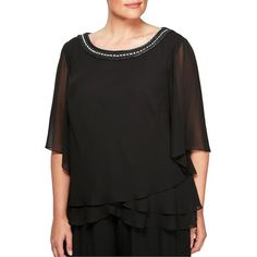 Alex Evenings Women's Plus Beaded Neckline Blouse ($149) ❤ liked on Polyvore featuring plus size women's fashion, plus size clothing, plus size tops, plus size blouses, black, plus size formal blouses, plus size pullover, women's plus size blouses, beaded blouses and plus size formal tops