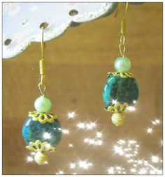Handmade Gold Hook Earrings with Moss Agate & Green Pearl by IreneDesign2011