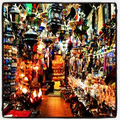Lamps in Alcaiceria market, Granada, Spain