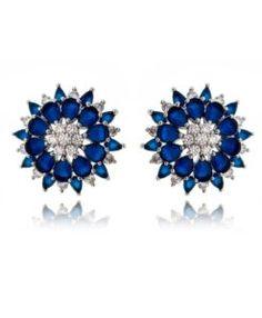 brinco de luxo safira com zirconias cristais e banho de rodio semi joias da moda