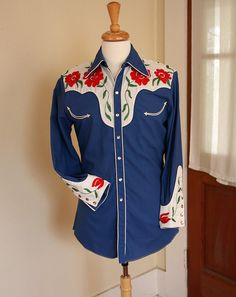 DEADSTOCK 1950's N. Turk Cobalt Blue & White Gabardine Cowboy Western Shirt w/ Red Chain Stitched Flowers - Custom Made - OOAK - Size S