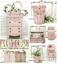 Sweet Pickins Milk Paint is a true milk paint which comes in a powder form. Our Milk Paint is environmentally safe, non-toxic and is food safe. There is a slight milky odor when it is applied, but… Pink Furniture, Shabby Chic Furniture, Shabby Chic Decor, Painted Furniture, Furniture Ideas, Furniture Movers, Furniture Vintage, Luxury Furniture, Interiores Shabby Chic