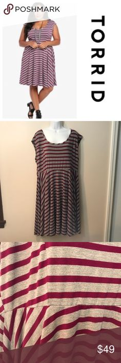 NWT Torrid Gray/purple cap sleeve dress. Size 3 New Torrid Gray/purple cap sleeve dress. Size 3. Polyester/Rayon/spandex. B42 torrid Dresses Midi