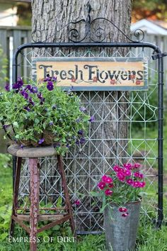 Want to make a grand entrance to your garden? Add a fabulous garden gate! Or turn one into garden art or trellis or whatever you like! These old metal gates are a classic design that looks great both (Diy Garden Art) Diy Garden, Dream Garden, Garden Projects, Garden Landscaping, Landscaping Ideas, Garden Junk, Herb Garden, Diy Projects, Florida Landscaping