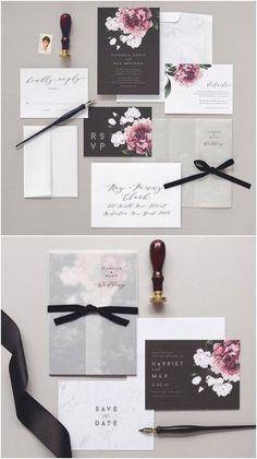Florence Wedding Invitation & Correspondence Set / Vintage Florals and Marble Accents / #weddinginvitation