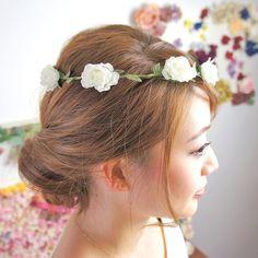 フラワークラウン 花かんむり カチューシャ ミニ ローズ フラワー リース カチューシャ[お世話や][osewaya]