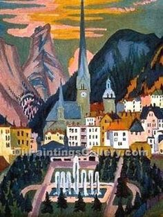 Ernst Ludwig Kirchner Expressionism | Davos by Ernst Ludwig Kirchner (Painting ID: LA-0994-KA) Swiss.