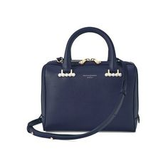 Aspinal of London Mini Pearl Bowling Bag In Smooth Blue Moon ($870) ❤ liked on Polyvore featuring bags, handbags, satchels, smooth blue moon, mini satchel purse, structured purse, vintage purses, vintage handbags and zip purse