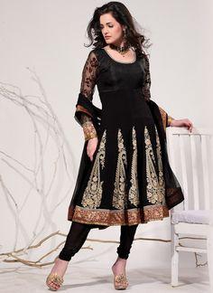 Ethnic Motif Black Georgette Anarkali Suit