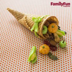 Cone of Plenty: This miniature cornucopia is overflowing with healthy goodies and a harvest of surprisingly simple-to-make sculpted candy.