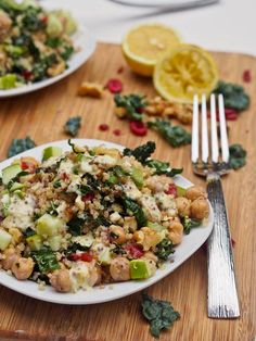quinoa salad with kale. walnuts. chickpeas. cranberries and apples
