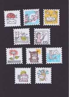 10 Briefmarken Aufkleber