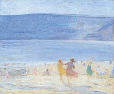 Beach by Florence Hess Leeds Art Gallery, Art Uk, Beach Scenes, Beach Art, Florence, Oil On Canvas, Illustration Art, Painting, Image