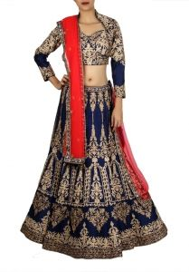 Blue and Red Bridal Designer Chaniya Choli