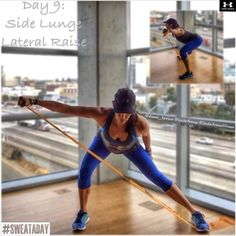 shaunaharrison:#SweatADay Day 9: Side Lunge Lateral Raise  @underarmour @underarmourwomen @underarmouraust #IWILLWHATIWANTAnd strength week is off to a great start!   Tomorrow's exercise is a combo that I love with the bands. Do you have to use bands? No. Can you use dumbbells? Medicine ball? Body bar? Cables? Yes yes yes. Anything that you have available works.  1 - Start standing, feet together. If using a band, get it under the outside foot (away from where you will step).   2 - Step the…