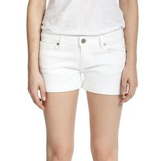 PAIGE Jimmy Denim Shorts (12 KWD) ❤ liked on Polyvore featuring shorts, cuffed shorts, short jean shorts, white jean shorts, paige denim and jean shorts