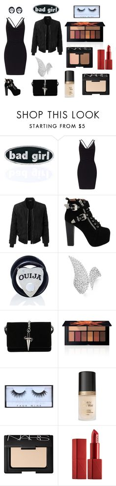 """Untitled #173"" by portia-rosie ❤ liked on Polyvore featuring C&D Visionary, Miss Selfridge, LE3NO, Jeffrey Campbell, Mysticum Luna, Messika, Cesare Paciotti, Smashbox, Huda Beauty and Too Faced Cosmetics"