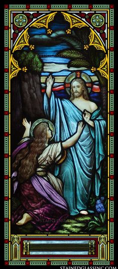 Mary Magdalene kneels before Christ as she Him after His resurrection. Stained Glass Church, Stained Glass Art, Stained Glass Windows, Mosaic Glass, Religious Images, Religious Icons, Religious Art, Anna Banana, Church Windows