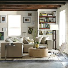 West Elm Sectional, Framed Side Table, Floor lamp and side chair