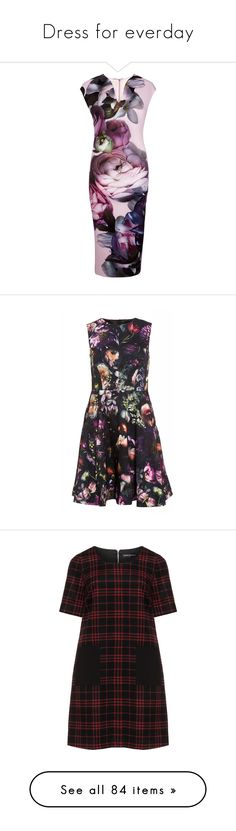 """Dress for everday"" by nefertiti1373 ❤ liked on Polyvore featuring dresses, pink, sale, pink v neck dress, mid calf dresses, v neck midi dress, ted baker dresses, purple dress, black multi and floral print dress"