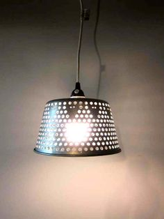Reclaimed Hanging Light  Silver Hole Cut Out by dproject on Etsy, $29.50