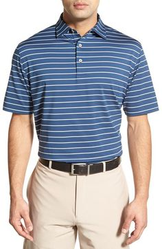 Peter Millar 'Quarter Stripe' Moisture Wicking Stretch Jersey Golf Polo available at #Nordstrom