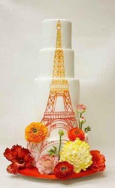 Handbemalte Hochzeitstorte Eiffelturm