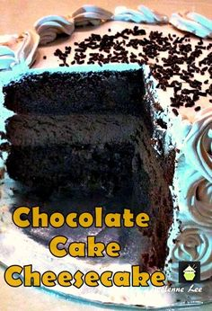 Chocolate Cake Cheesecake. Wow! Every Chocolate lover's dream! #cake #cheesecake #chocolate