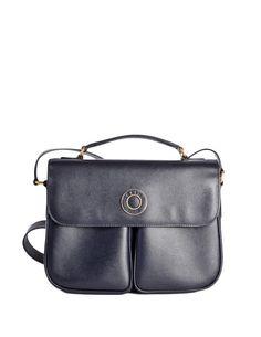 Celine Vintage Navy Blue Leather Messenger Bag - from Amarcord Vintage Fashion