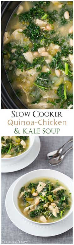 Slow Quinoa Chicken and Kale Soup - this is so healthy and so delicious!