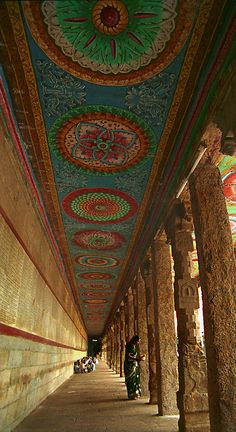 Ancient Hindu Mandir (temple) Ceiling, Madurai, India
